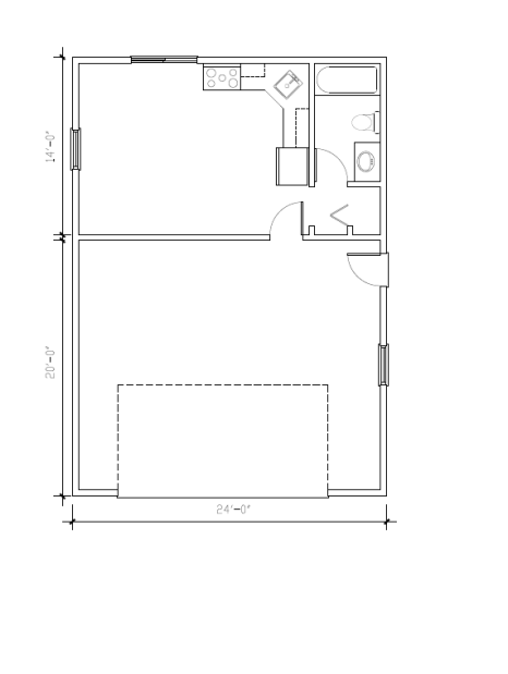 Enhanced Garage with apartment floor plan